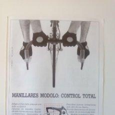 Coleccionismo deportivo: PUBLICIDAD CICLISMO 1987. MANILLARES MODOLO: CONTROL TOTAL.. Lote 205672982
