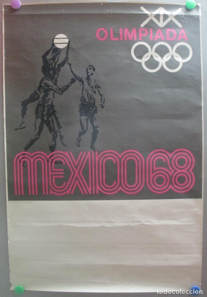 CARTEL DEPORTE BALONCESTO XIX JUEGOS OLIMPICOS OLIMPIADA MEJICO MEXICO 1968 68 ORIGINAL (Coleccionismo Deportivo - Carteles otros Deportes)