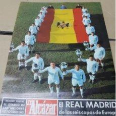 Coleccionismo deportivo: ANTIGUO PÓSTER REAL MADRID 6 CAMPEÓN DE EUROPA .EL ALCÁZAR. Lote 205785732