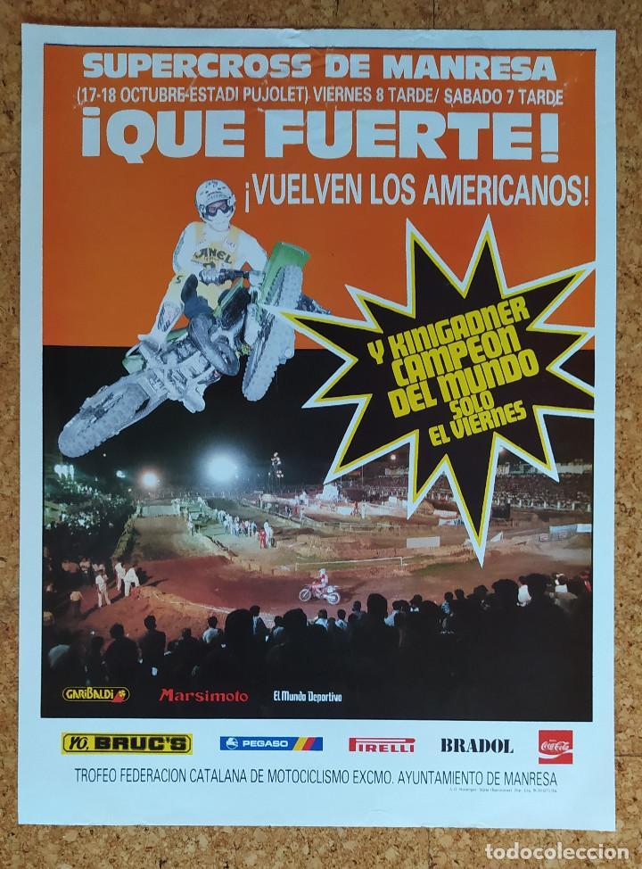 CARTEL O POSTER SUPERCROSS DE MANRESA - 17 Y 18 DE OCTUBRE DE 1986 - KINIGADNER CAMPEÓN DEL MUNDO (Coleccionismo Deportivo - Carteles otros Deportes)