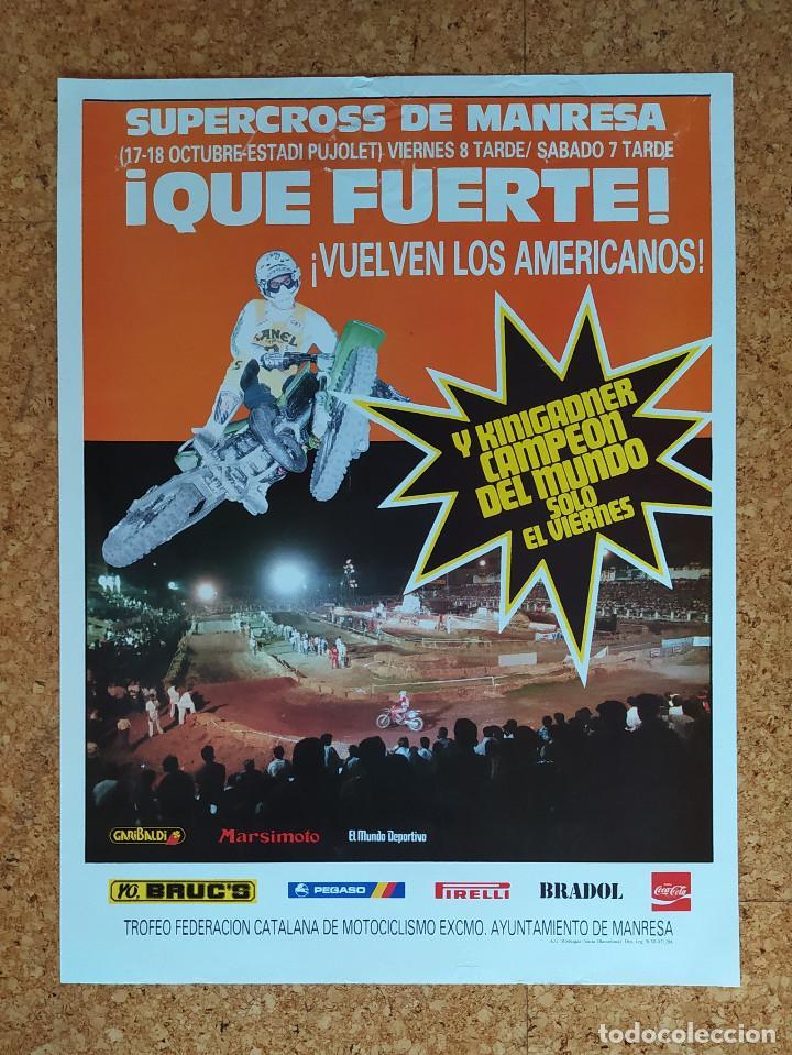 Coleccionismo deportivo: CARTEL O POSTER SUPERCROSS DE MANRESA - 17 y 18 de octubre de 1986 - KINIGADNER Campeón del Mundo - Foto 4 - 207233342