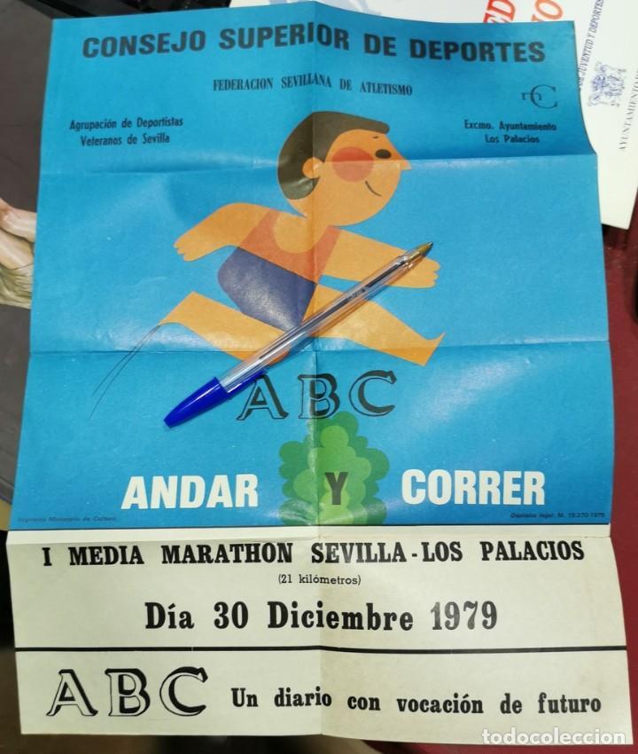 ATLETISMO,1979, CARTEL I MEDIA MARATHON SEVILLA-LOS PALACIOS, RARO, 30X40 CMS (Coleccionismo Deportivo - Carteles otros Deportes)