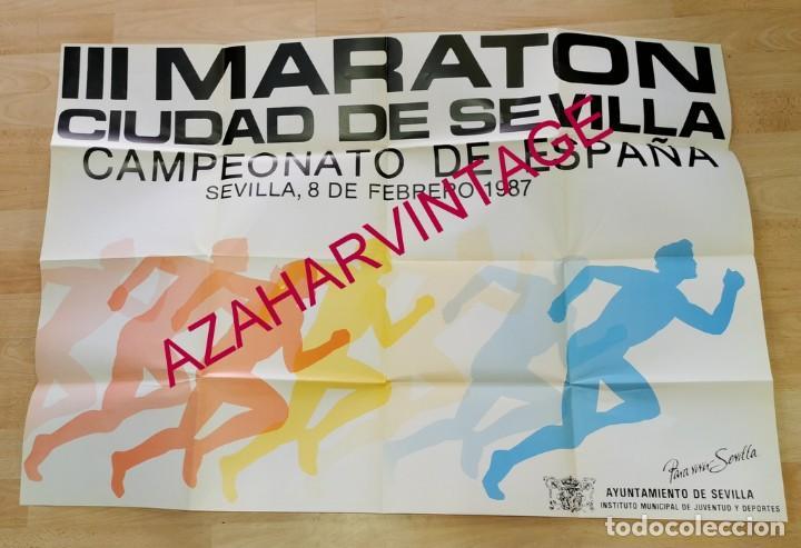 ATLETISMO, 1987, ESPECTACULAR CARTEL III MARATON CIUDAD DE SEVILLA, 90X68 CMS (Coleccionismo Deportivo - Carteles otros Deportes)