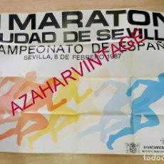 Coleccionismo deportivo: ATLETISMO, 1987, ESPECTACULAR CARTEL III MARATON CIUDAD DE SEVILLA, 90X68 CMS. Lote 207480601
