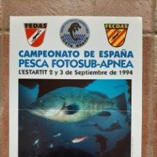 Coleccionismo deportivo: CARTEL CAMPEONATO ESPAÑA PESCA FOTOSUB APNEA FEDAS 1994. Lote 210441170