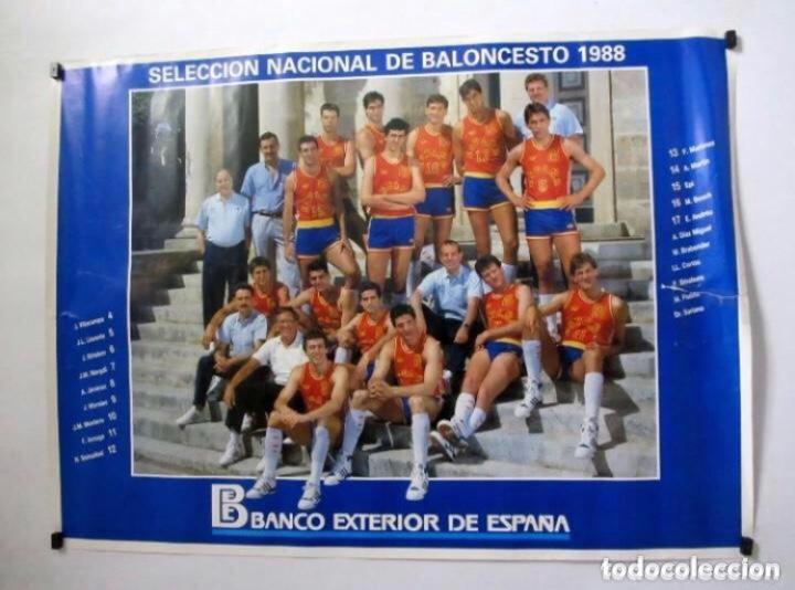 SELECCIÓN ESPAÑOLA DE BALONCESTO 1988 (EPI, VILLACAMPA, MARGALL, SOLOZABAL, MARTÍN,....). POSTER PR (Coleccionismo Deportivo - Carteles otros Deportes)
