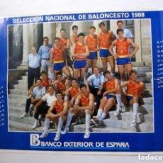 Coleccionismo deportivo: SELECCIÓN ESPAÑOLA DE BALONCESTO 1988 (EPI, VILLACAMPA, MARGALL, SOLOZABAL, MARTÍN,....). POSTER PR. Lote 211442840