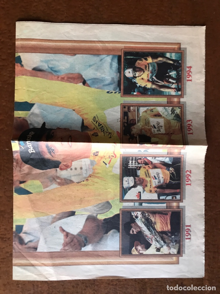 Coleccionismo deportivo: Envío 8€. Poster periodico MARCA, ¨¨Miguel Indurain rey de Francia¨ tour´ 95. mide 58x39cm. - Foto 5 - 213871351
