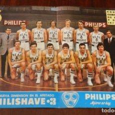 Coleccionismo deportivo: CARTEL POSTER OFICIAL REAL MADRID, PHILIPS, BALONCESTO BASKET, PLANTILLA CAMPEON LIGA Y COPA 1972 19. Lote 215232605
