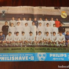 Coleccionismo deportivo: CARTEL POSTER OFICIAL REAL MADRID CAMPEON LIGA 71 72 - 1971 1972 PHILIPS, MIDE 41 X 30 CMS.. Lote 215233332