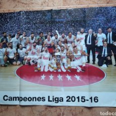 Coleccionismo deportivo: POSTER REAL MADRID BALONCESTO CAMPEONES LIGA 2015 / 2016. Lote 215790675