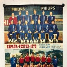 Coleccionismo deportivo: SELECCIÓN ESPAÑA SENIOR Y JUNIOR DE BALONCESTO 1970. CARTEL PUBLICITARIO DE PHILIPS.. Lote 217124413