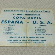 Coleccionismo deportivo: 1965 ARTHUR ASHE COPA DAVID USA ESPAÑA CARTEL. Lote 218112785