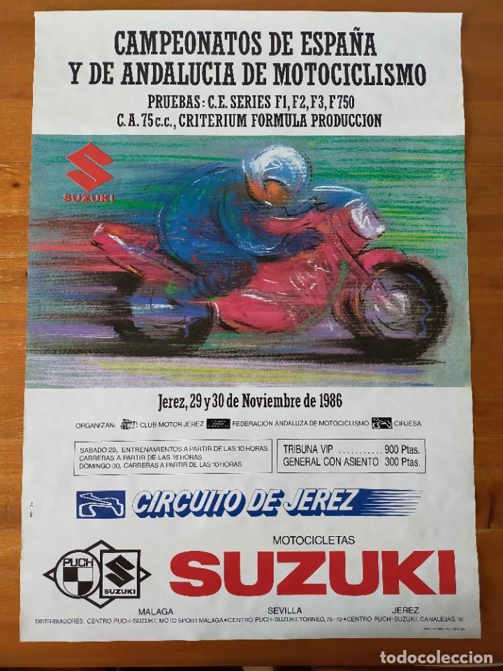 CARTEL (68X48). CAMPEONATOS ESPAÑA Y DE ANDALUCIA DE MOTOCICLISMO - CIRCUITO DE JEREZ 1986 (Coleccionismo Deportivo - Carteles otros Deportes)