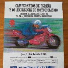 Coleccionismo deportivo: CARTEL (68X48). CAMPEONATOS ESPAÑA Y DE ANDALUCIA DE MOTOCICLISMO - CIRCUITO DE JEREZ 1986. Lote 218905788