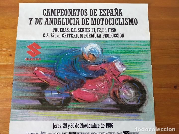 Coleccionismo deportivo: CARTEL (68X48). CAMPEONATOS ESPAÑA Y DE ANDALUCIA DE MOTOCICLISMO - CIRCUITO DE JEREZ 1986 - Foto 2 - 218905788