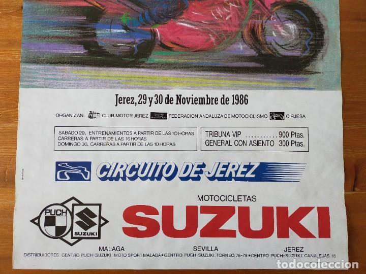 Coleccionismo deportivo: CARTEL (68X48). CAMPEONATOS ESPAÑA Y DE ANDALUCIA DE MOTOCICLISMO - CIRCUITO DE JEREZ 1986 - Foto 3 - 218905788