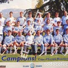 Coleccionismo deportivo: CARTEL DEL CLUB EGARA - SORT CAMPIONS - COPA D'EUROPA BLOEMENDAAL ANY 2001 -. Lote 220493086