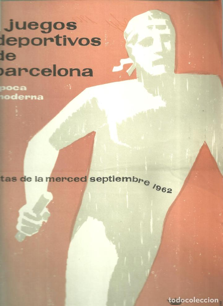 3905.- I JUEGOS DEPORTIVOS DE BARCELONA EPOCA MODERNA-FIESTAS DE LA MERCED 1962-AYUNTAMIENTO BCN (Coleccionismo Deportivo - Carteles otros Deportes)