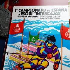 """Coleccionismo deportivo: CARTEL 1ER CAMPEONATO DE ESPAÑA DE ESQUI """"INTERCAJAS"""". Lote 222961933"""