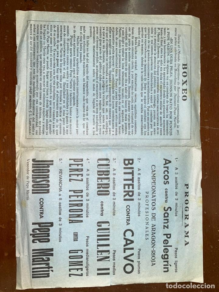 Coleccionismo deportivo: ZARAGOZA. 1946. PROGRAMA. BOXEO FRONTÓN CINEMA. PUBLICIDAD. 21,50X31,50 CM ABIERTO. - Foto 2 - 223501080