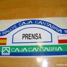 Coleccionismo deportivo: ADHESIVO XVII RALLYE CAJA CANTABRIA 1995 PRENSA (B) PEGATINA GRAN FORMATO 43 X 21 CM.. Lote 224121665