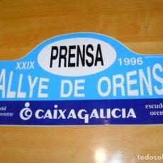 Coleccionismo deportivo: ADHESIVO XXIX RALLYE DE ORENSE 1996 PRENSA MEMORIAL E. REVERTER PEGATINA GRAN FORMATO 43 X 22 CM.. Lote 224126525