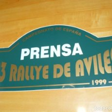 Coleccionismo deportivo: ADHESIVO 23 RALLYE DE AVILES 1999 PRENSA CAMPEONATO DE ESPAÑA PEGATINA GRAN FORMATO 43 X 22 CM.. Lote 224127380