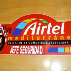 Coleccionismo deportivo: ADHESIVO 9 RALLYE AIRTEL MEDITERRANEO VALENCIA 1999 JEFE SEGURIDAD PEGATINA GRAN FORMATO 43 X 21CM. Lote 224128880