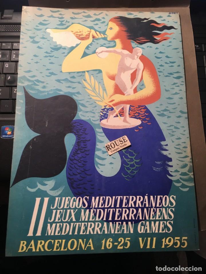 ANTIGUO DISPLAY II JUEGOS MEDITERRANEOS BARCELONA 16-25 VII 1955 MONTADO EN CARTON ILUST. POR BORT (Coleccionismo Deportivo - Carteles otros Deportes)