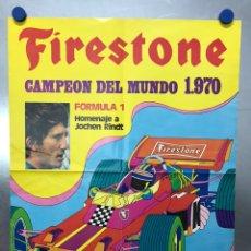 Collezionismo sportivo: CARTEL FIRESTONE, FORMULA 1 - HOMENAJE A JOCHEN RINDT, CAMPEON DEL MUNDO DE 1970. Lote 225234895