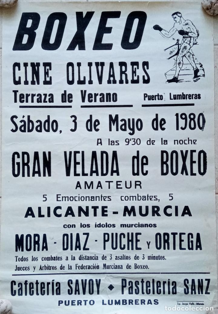 CARTEL BOXEO. TERRAZA DE VERANO PUERTO LUMBRERA, MURCIA. 1980. W (Coleccionismo Deportivo - Carteles otros Deportes)