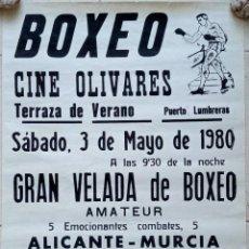 Coleccionismo deportivo: CARTEL BOXEO. TERRAZA DE VERANO PUERTO LUMBRERA, MURCIA. 1980. W. Lote 228014335
