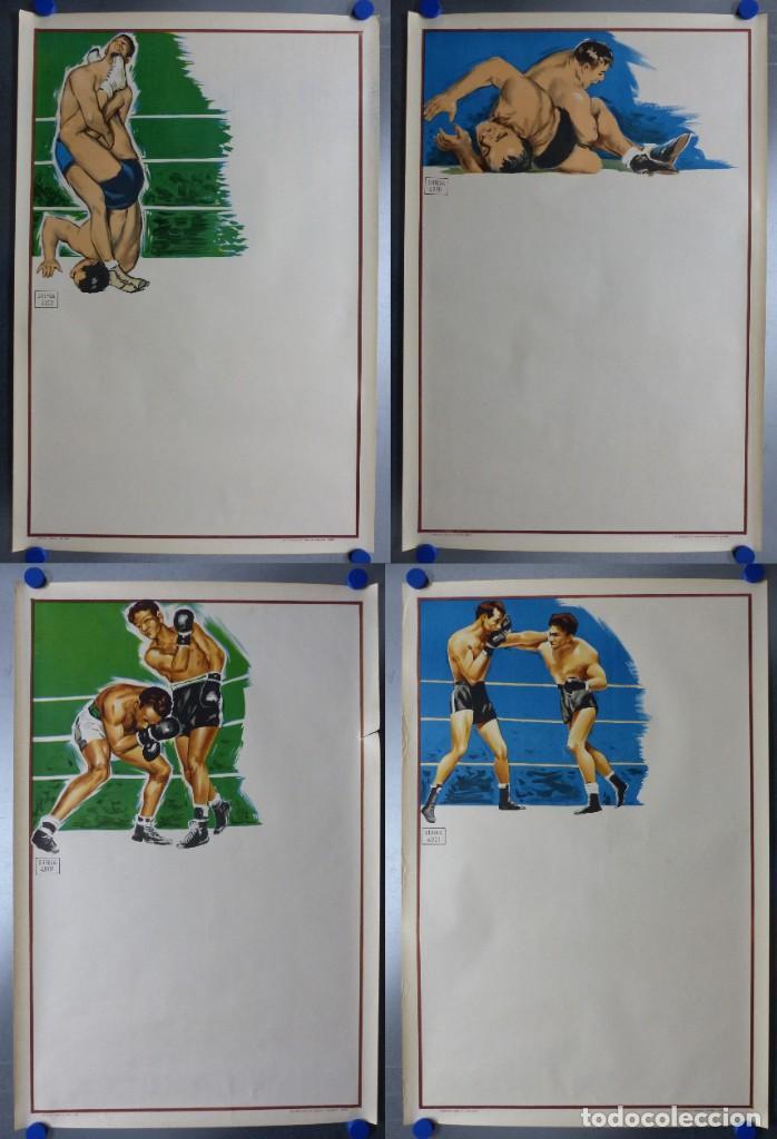 BOXEO Y LUCHA LIBRE - 4 CARTELES LITOGRAFICOS DEL AÑO 1963 - VER FOTOS ADICIONALES (Coleccionismo Deportivo - Carteles otros Deportes)