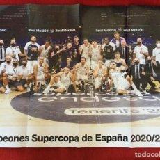 Coleccionismo deportivo: CARTEL POSTER REAL MADRID BALONCESTO CAMPEONES SUPERCOPA ESPAÑA 2020 2021. Lote 236438235