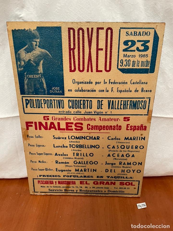 CARTEL ENMARCADO SOBRE TABLA - JOSÉ DIRAN BOXEO (Coleccionismo Deportivo - Carteles otros Deportes)