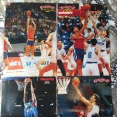 Coleccionismo deportivo: BASKET POSTERS PACK - LEYENDAS FIBA SELECCIONES (4 POSTERS) EPI, JIMÉNEZ, GASOL & MARCIULIONIS. Lote 238271290