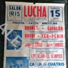 Coleccionismo deportivo: CARTEL LUCHA - FREISTIL - CATCH - WRESTLING - SALON IRIS - BRUNET GAVALDA RODRI - FER-PENIN. 100X70C. Lote 238540415