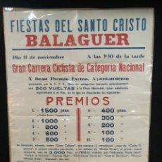 Coleccionismo deportivo: CURIOSA CARTEL, GRAN CARRERA CICLISTA NACIONAL, BALAGUER, FIESTAS DE SANTO CRISTO. Lote 243797540