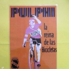 Coleccionismo deportivo: CARTEL REPRODUCCION PUBLICIDAD BICICLETAS PULPHI CAMPEON DE ESPAÑA 1928-1929 TAMAÑO: 25 X 42 CM. Lote 244523955