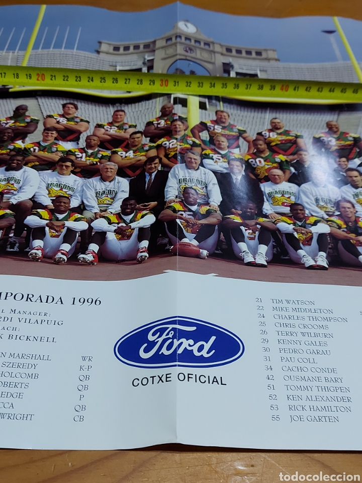 Coleccionismo deportivo: Cartel Poster Barcelona dragons 1966 World League 62 x 44 cm - Foto 2 - 245600320