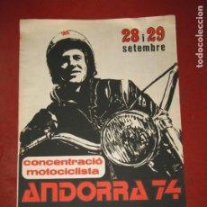 Coleccionismo deportivo: ANTIGUO CARTEL CONCENTRACIÓ MOTOCICLISTA ANDORRA 74 PATROCINAT PER MONTESA DEL AÑO 1974. Lote 251042990