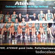 Coleccionismo deportivo: POSTER ATENAS DE CORDOBA QUINTUPLE CAMPEON LIGA NAC 9798. Lote 255289255