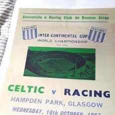 Coleccionismo deportivo: POSTER RACING CLUB COPA INTERCONTINENTAL 1967 VS CELTIC. Lote 255289985