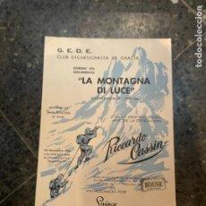 """Coleccionismo deportivo: MONTAÑISMO - ANTIGUO CARTEL G.E.D.E.ESTRENO DEL DOCUMENTAL """"LA MONTAGNA DI LUCE"""" (GASHERBRUM IV ). Lote 262687100"""
