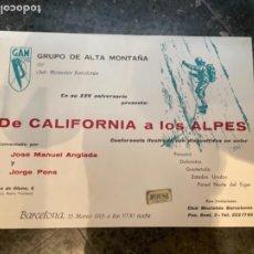 Coleccionismo deportivo: MONTAÑISMO -ANTIGUO CARTEL 1965 - GAM DEL CLUB MONTAÑÉS BARCELONÉS EN SU XXV ANIVERSARIO PRESENTA DE. Lote 262695730