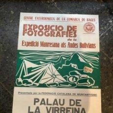 Coleccionismo deportivo: BAGES - MONTAÑISMO / FOTOGRAFIA - CARTEL CENTRE EXCURSIONISTA DE LA COMARCA DE BAGES - EXPOSICIO DE. Lote 262914385