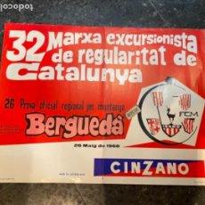 Coleccionismo deportivo: BERGADÁ - MINTAÑISMO - CARTEL 1968 -32 MARXA EXCURSIONISTA DE REGULARITAT DE CATALUNYA FCM. 50X37,5. Lote 263919010