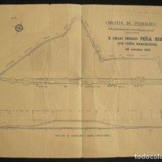Coleccionismo deportivo: BARCELONA-CIRCUITO DE PEADRALBES-X GRAN PREMIO PEÑA RHIN-MAPA CIRCUITO AÑO 1950-VER FOTOS-(K-3196). Lote 268136219