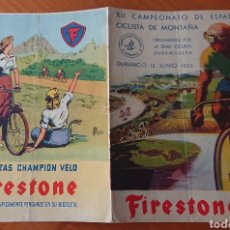 Coleccionismo deportivo: CICLISMO DURANGO, VIZCAYA, 1953 EXCEPCIONAL DÍPTICO, BONITA PUBLICIDAD, VED FOTOS, CICLISMO. Lote 269114383